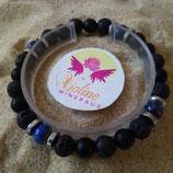 Lapis lazuli / lave / perle 8mm - bracelet