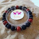 jaspe rouge / lave / perle 10mm - bracelet