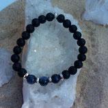 Sodalite bleue / lave / perle 8mm - bracelet