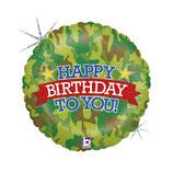 "Palloncino 18"" mylar Happy Birthday Mimetico ""Camouflage"""