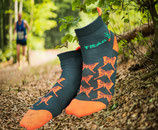 "1 Paar Laufsocken TrailRunBerlin 2018 ""Schmetterlinge"" // grün-orange"