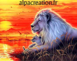LION ET SON BEBE - KIT BRODERIE DIAMANTS