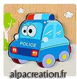 LA VOITURE DE POLICE - PUZZLE EN BOIS