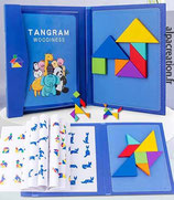 Tangram magnétique bleu