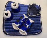 4er Set: Schabracke (Dressur) , Ohrengarn, Gamasche, Glocken, Farbe: blau