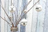 Große Weihnachtskugeln, Weiß