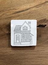 Mini keramieken tegeltje met afbeelding 'Wit' Huis