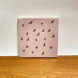 Tegeltje roze met afbeelding 'Vogelzwerm'