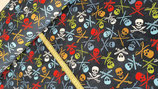 Sweatshirtstoff Totenköpfe dunkelblau