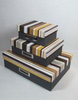 Klappbox Set 3-teilig Streifen dunkel (Leinen)