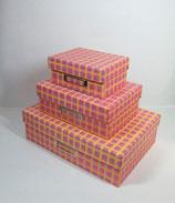 Klappbox Set 3-teilig Karo/Streifen