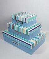 Klappbox Set 3-teilig Streifen blau (Leinen)