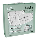 Toddler dinner set Happy dots Grey