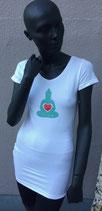 T-Shirt V-Ausschnitt, bin beim Yoga, weiß