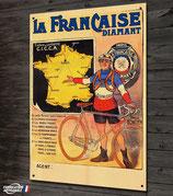 Plaque métal déco, vélo La Française Diamant, reproduction affiche vintage et cyclisme rétro
