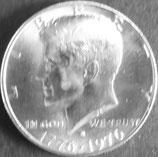 ケネディ1/2ドル銀貨  西暦1976年