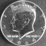 ケネディ1/2ドル銀貨   西暦1964年