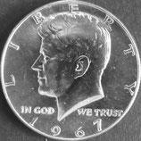 ケネディ1/2ドル銀貨 西暦1967年