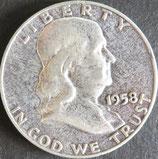 ベンジャミンフランクリン1/2ドル銀貨 西暦1958年
