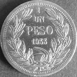 チリ記念銀貨貨 西暦1933年
