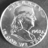 ベンジャミンフランク1/2ドル銀貨 西暦1963年