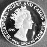 タークス・カイコス諸島プルーフ銀貨 西暦1995年