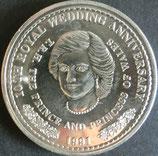 タークス・カイコス諸島銀貨 西暦1991年