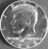 ケネディ50セント銀貨  西暦1969年