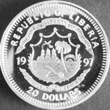 リベリアプルーフ銀貨 西暦1997年