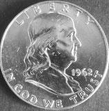 フランクリン1/2ドル銀貨 西暦1962年