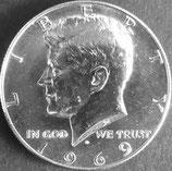 ケネディ1/2ドル銀貨   西暦1969年