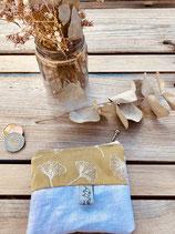 Porte monnaie coton et lin blanc métalisé