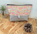 Trousse de toilette grise et liberty wiltshire rose #1