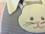Teddyfellkissen mit Schlappohr-Hase & Namen