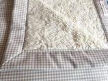 Teddyfelldecke Vichy beige-weiß, 100% Baumwolle