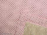Teddyfelldecke Rosa mit pinken Tupfen, 100% Baumwolle