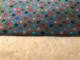 Kinderwagenmuff mit grau mit bunten Sternen