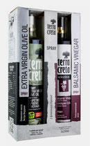 004 Set Olivenöl-Spray/Balsamico-Spray - Terra Creta Extra Qualitäts Balsamico Essig und Olivenöl Extra Nativ - Spray 0,25 l Sprühflasche