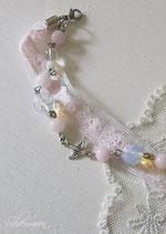 Armband rosa Spitze, Mondstein, Rosenquarz, Bergkristall