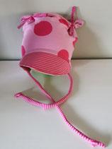 """Ohrenmütze  mit Schirm""""pink dots"""" in Gr. 44-48"""