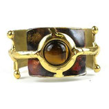 GOLD TIGER EYE BALL AND JACK BRASS