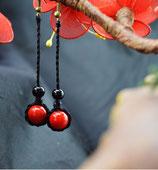 boucles d'oreilles ethniques rouge corail