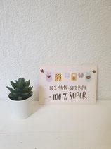 """Postkarte """" 50% Mama 50% Papa = 100% Super"""
