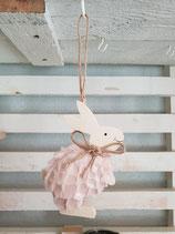 Holz Hase zum hängen rosa