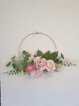 Metallring mit Kunstblumen rosa/weiss