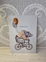"""Postkarte """" Glückwunsch """"  ( Bär auf Fahrrad )"""