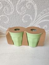 Melamin Becher klein mit Kerze grün
