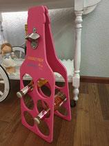 Flaschenständer mit Flaschenöffner rosa
