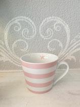 Tasse mit Henkel rosa weiss gestreift