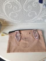 Täschchen/Etui mit Hasen Motiv rosa
